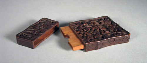 Carved wood card case detail 2