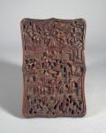 Carved wood card case