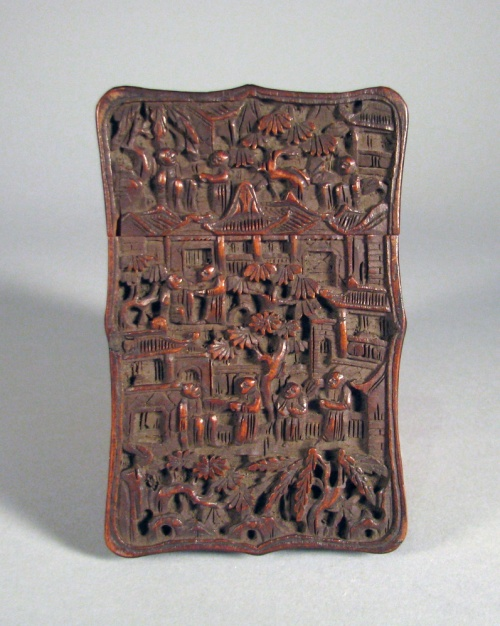 Carved wood card case