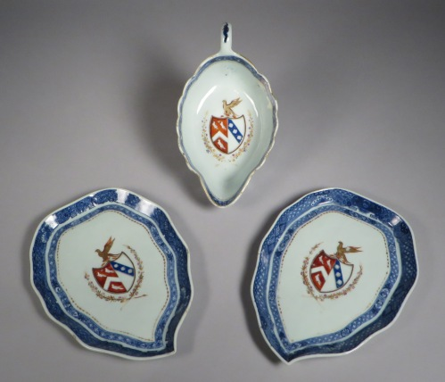 Armorial arms of page lowdham sauce boat with underplates