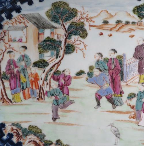 Famille rose mandarin scene platter detail 1