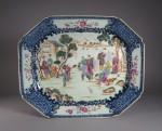 Famille rose mandarin scene platter