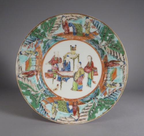 Mandarin plates river scene border detail 2