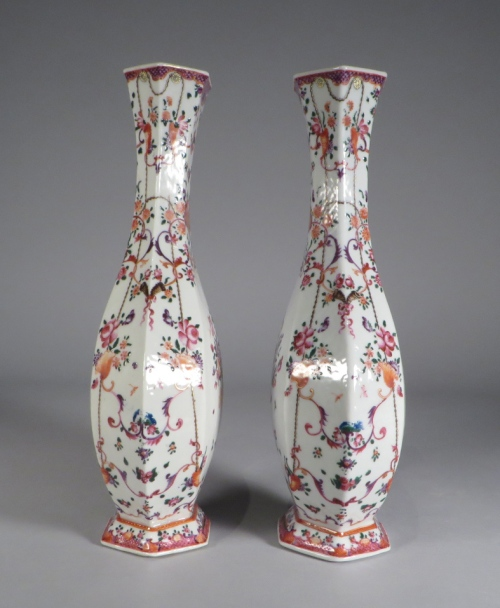 Pair of hexagonal famille rose vases detail 1