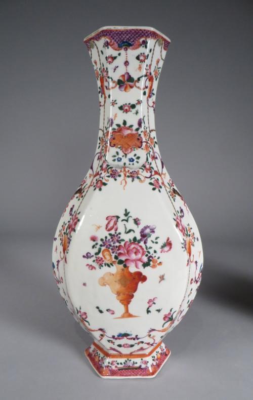 Pair of hexagonal famille rose vases detail 2