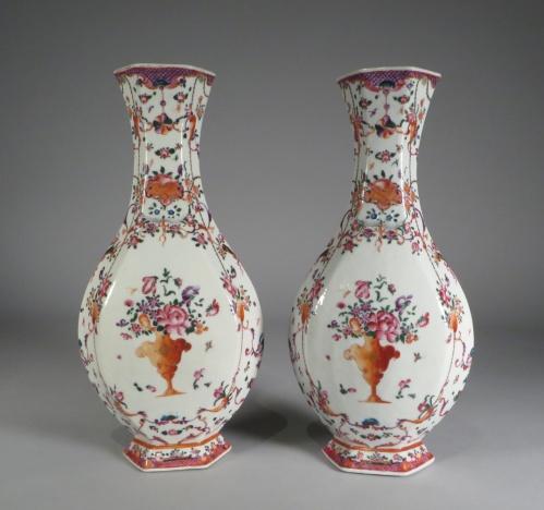Pair of hexagonal famille rose vases