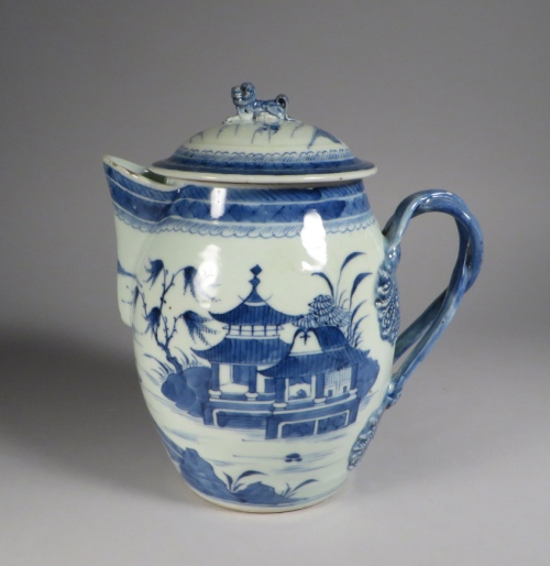 Blue and white cider jug