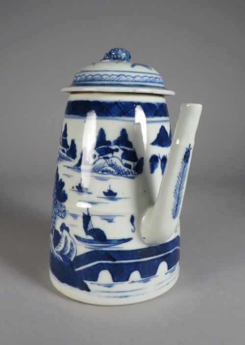 Blue and white small lighthouse teapot detail 2