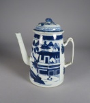 Blue and white small lighthouse teapot