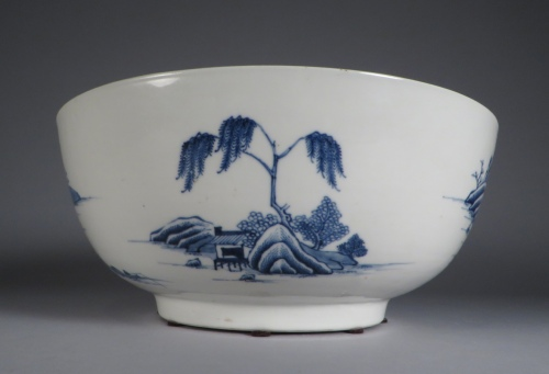 Blue and white punch bowl 1760 detail 1