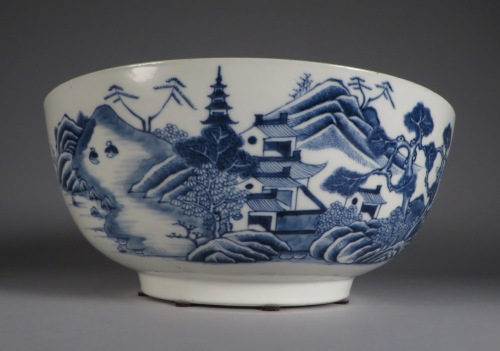 Blue and white punch bowl 1760 detail 2