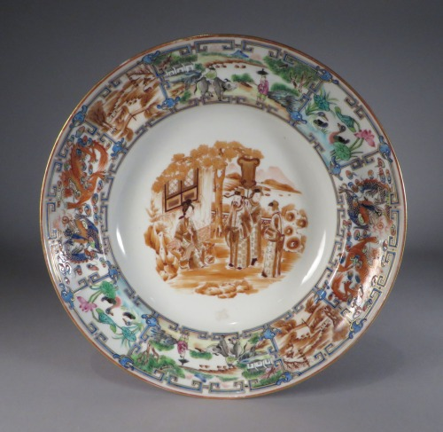 famille-rose-plate-with-central-sepia-vignette-1830