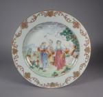 Famille rose plate farm scene 1755