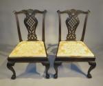 English ebonized mahogany side chairs pair 1770