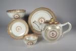 Partial English market rouge de fer and gilded tea service 1790