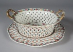 Famille rose basket and underplate 1770 detail 1