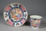 Famille rose tea bowl and saucer 1780 detail 1